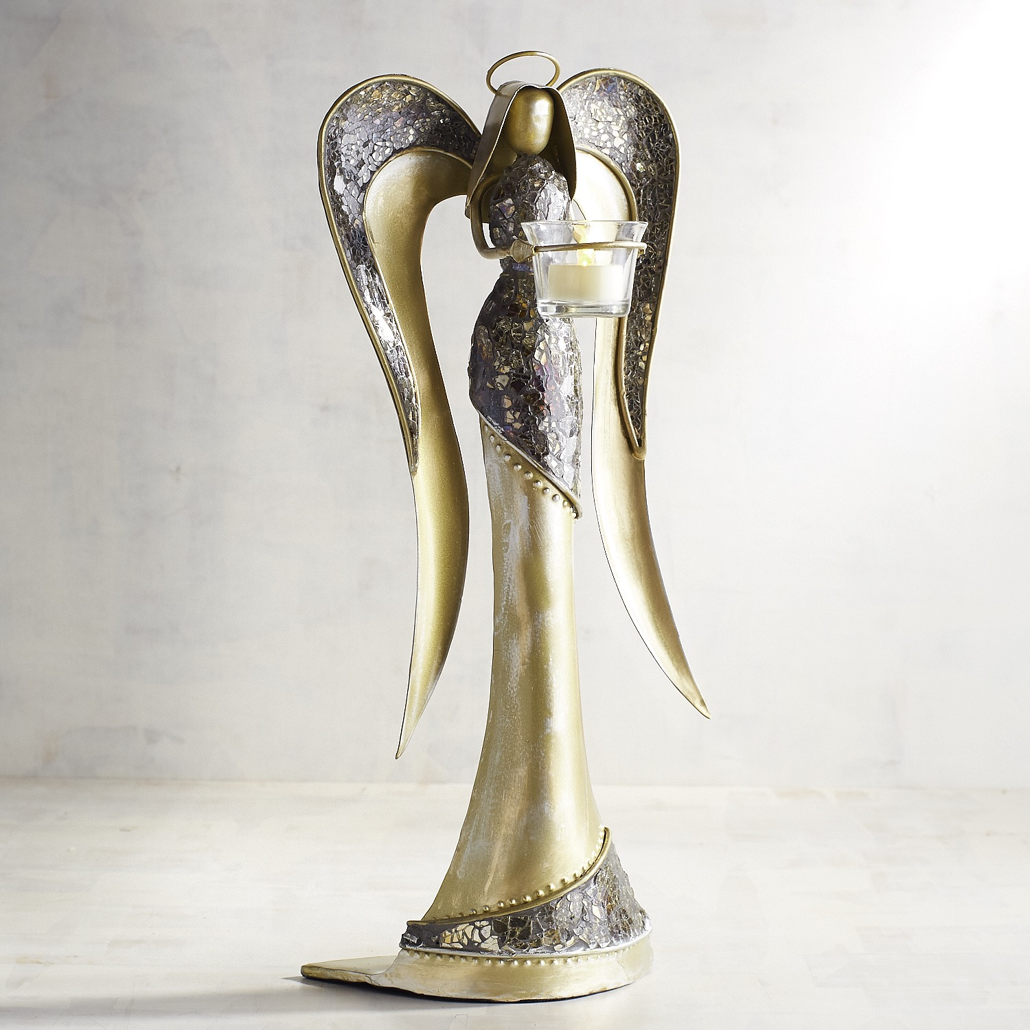 Golden Mosaic Angel Tealight Candle Holder