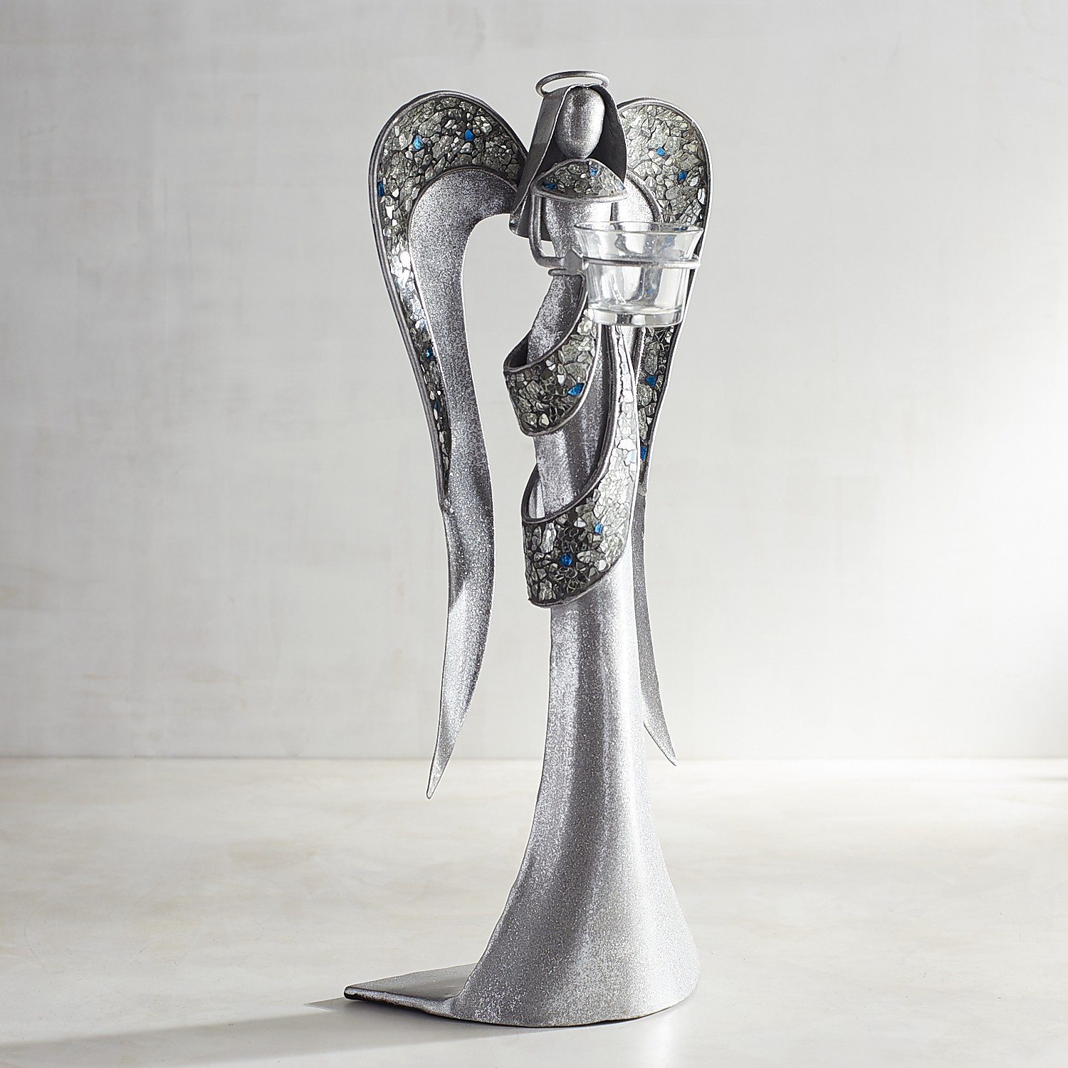 Silver Mosaic Angel Tealight Candle Holder