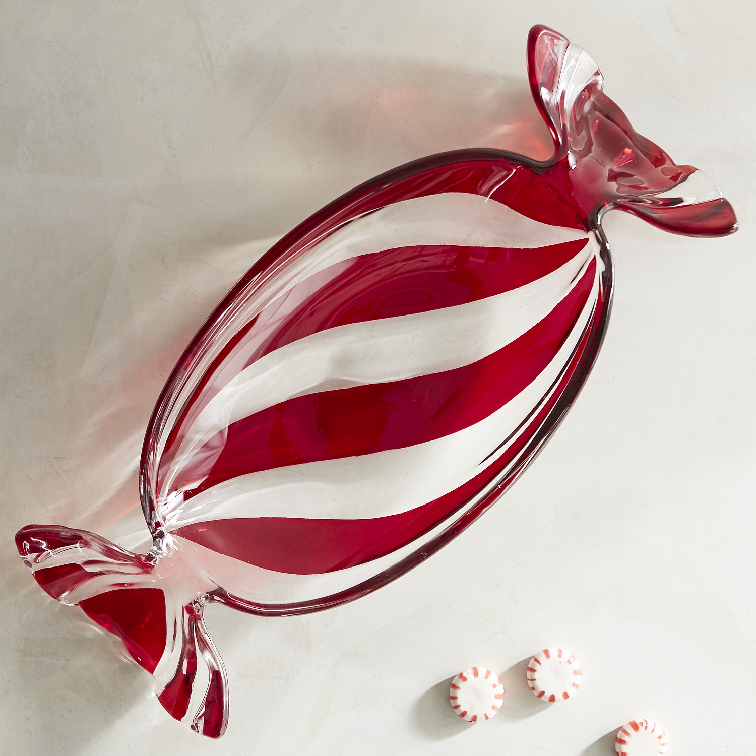 Striped Peppermint Glass Candy Dish