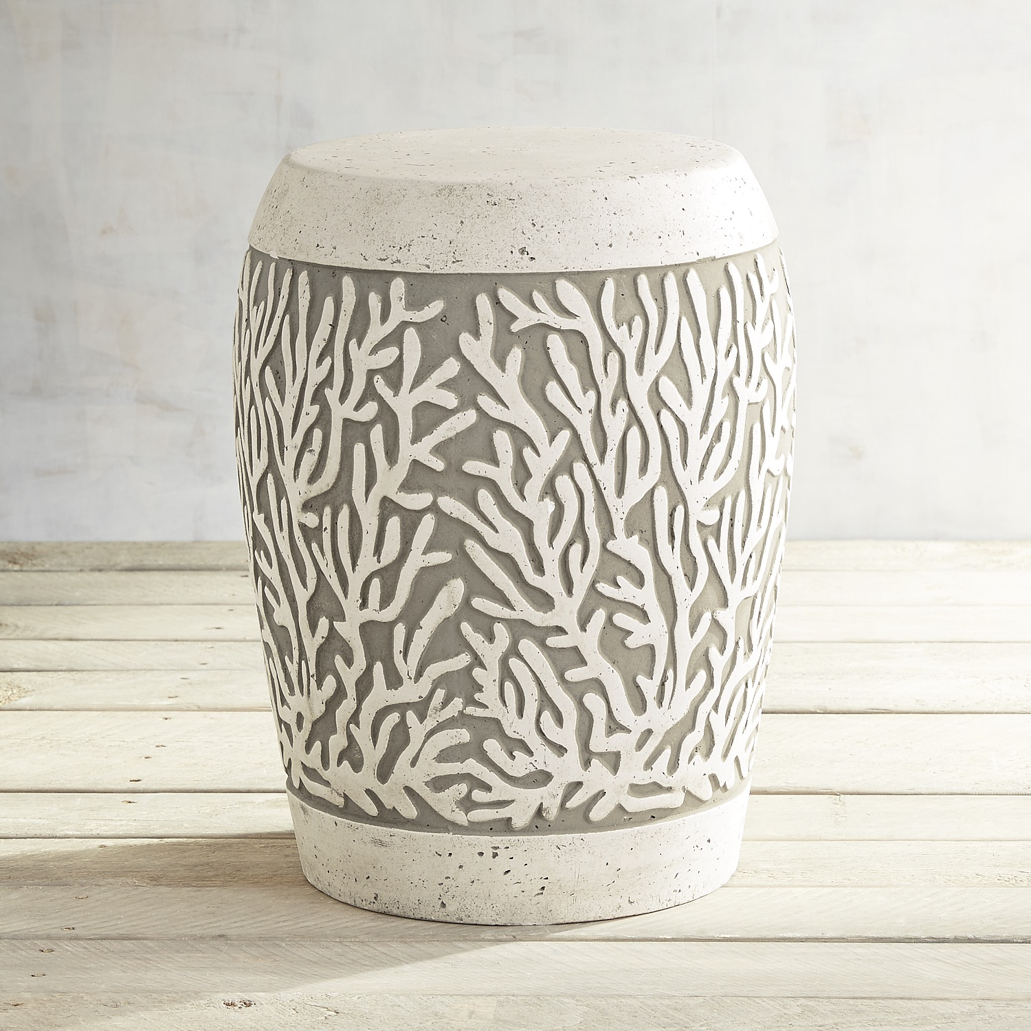 Embossed Coral Garden Stool
