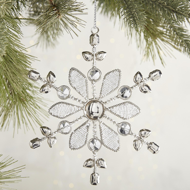 White & Silver Beaded Snowflake Ornament