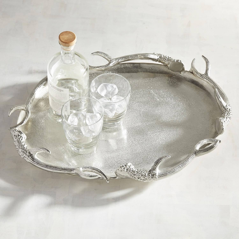 Silver Antler Decorative Oval Platter