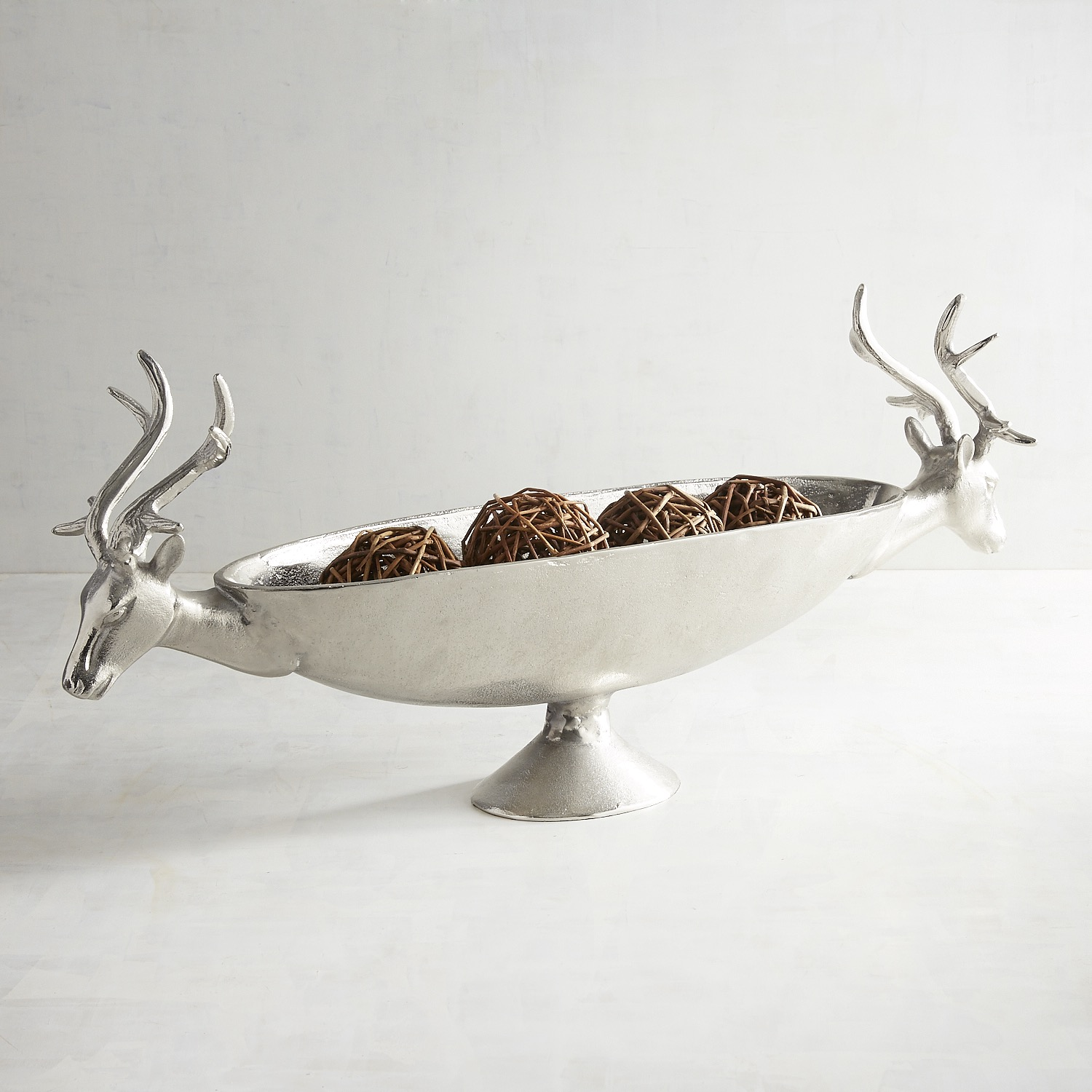 Silver Deer Heads Oval Decorative Bowl