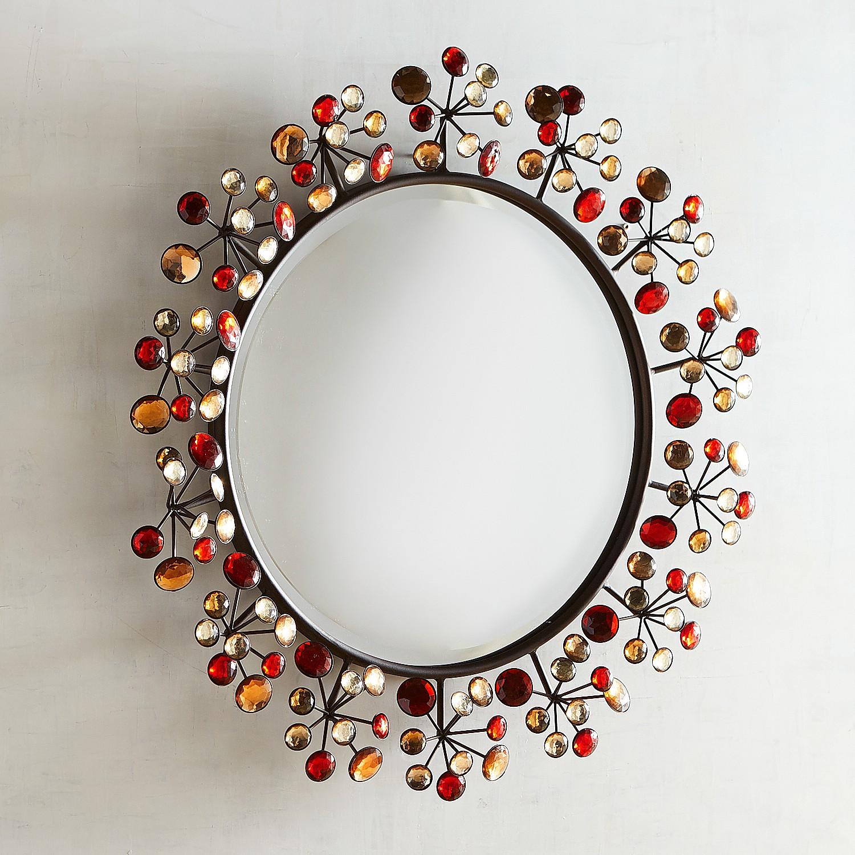 Red Dazzle Round Mirror