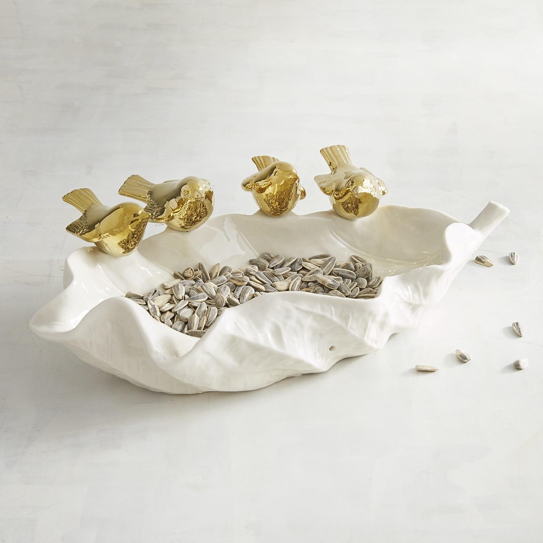 Ceramic Bird Feeder with Golden Birds