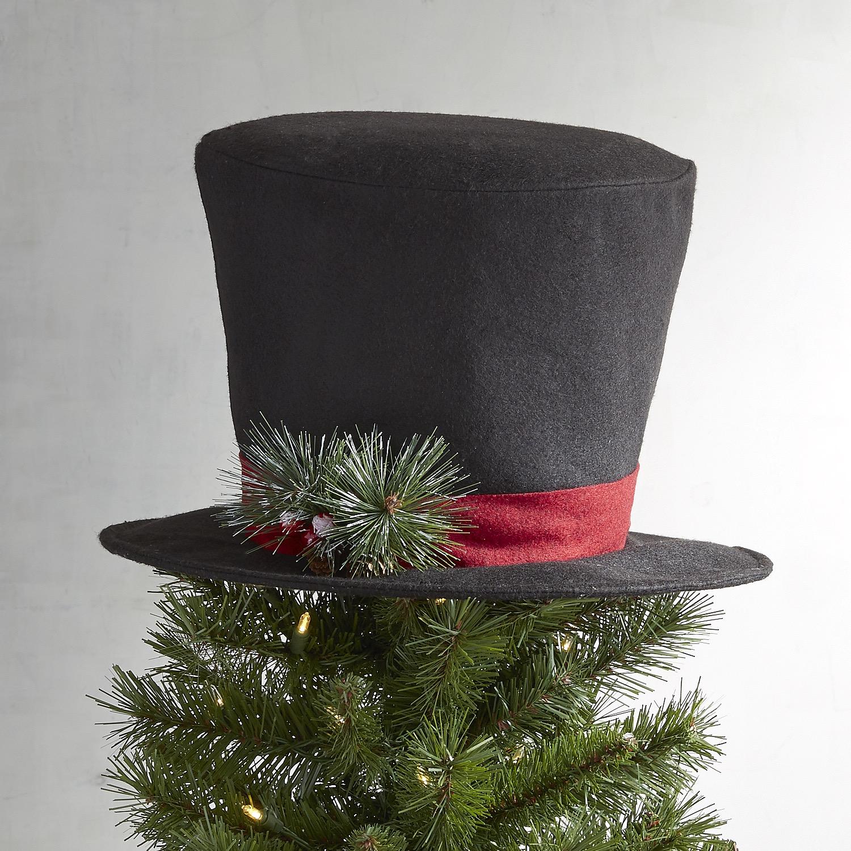 Black Top Hat Tree Topper