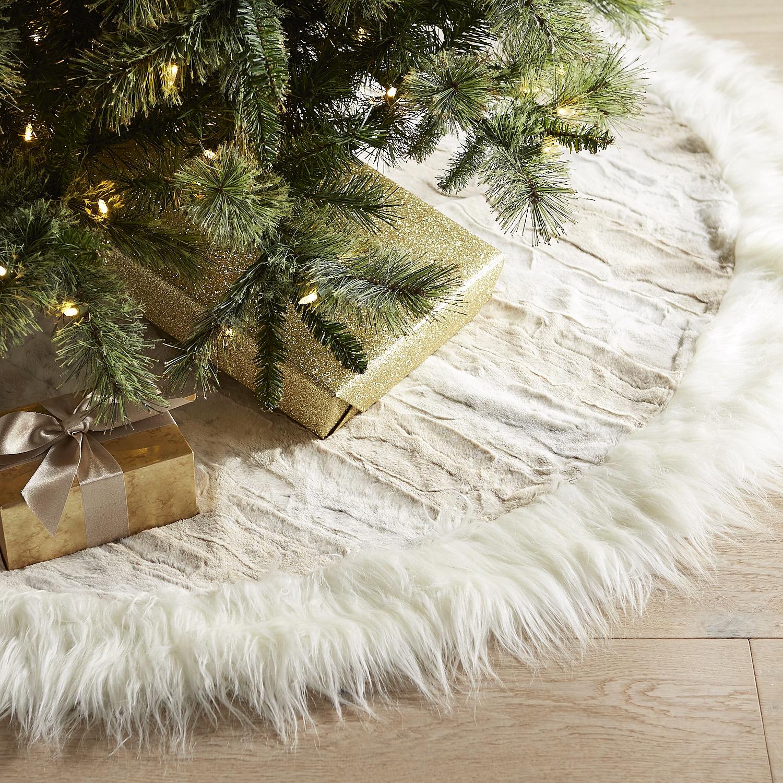 Snow Leopard Faux Fur Tree Skirt