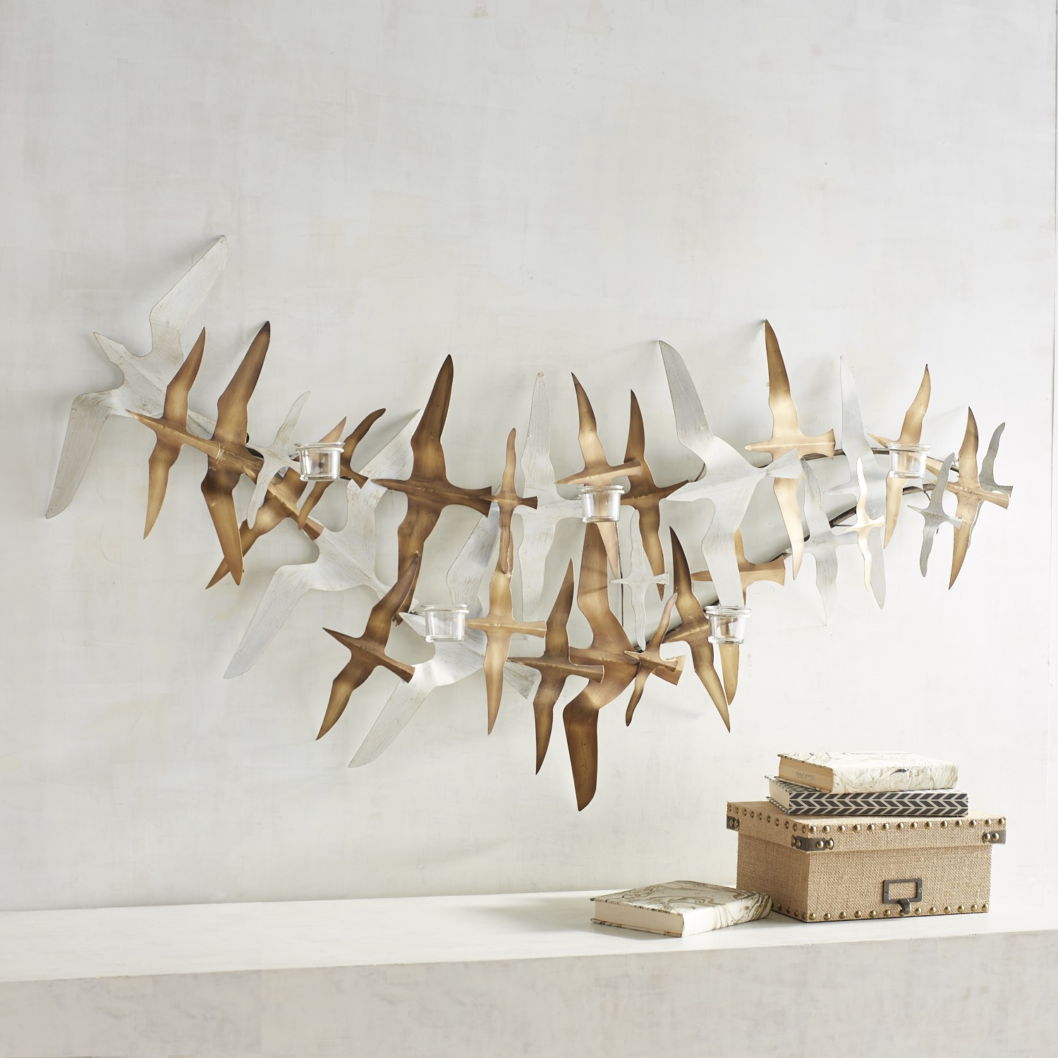 Flock of Birds Tealight Candle Holder Wall Sconce