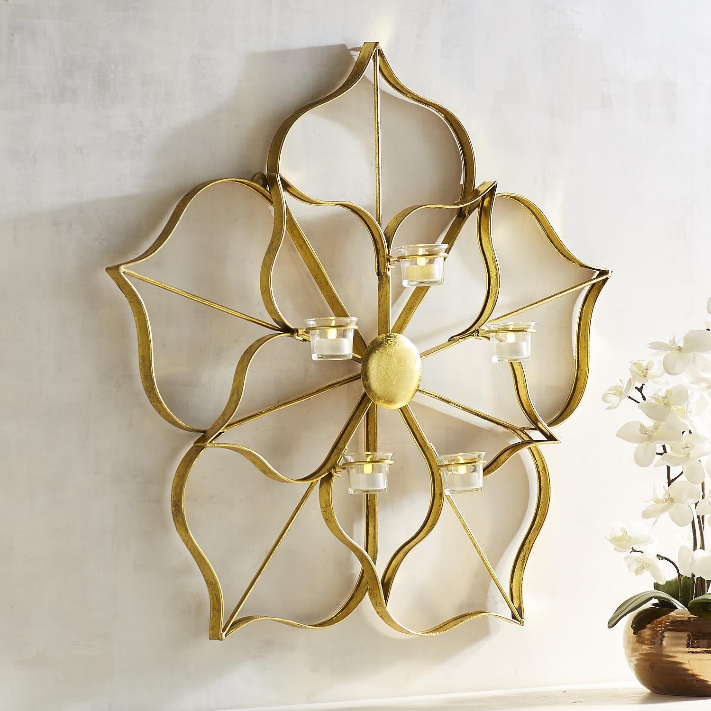 Golden Flower Tealight Candle Holder Wall Sconce