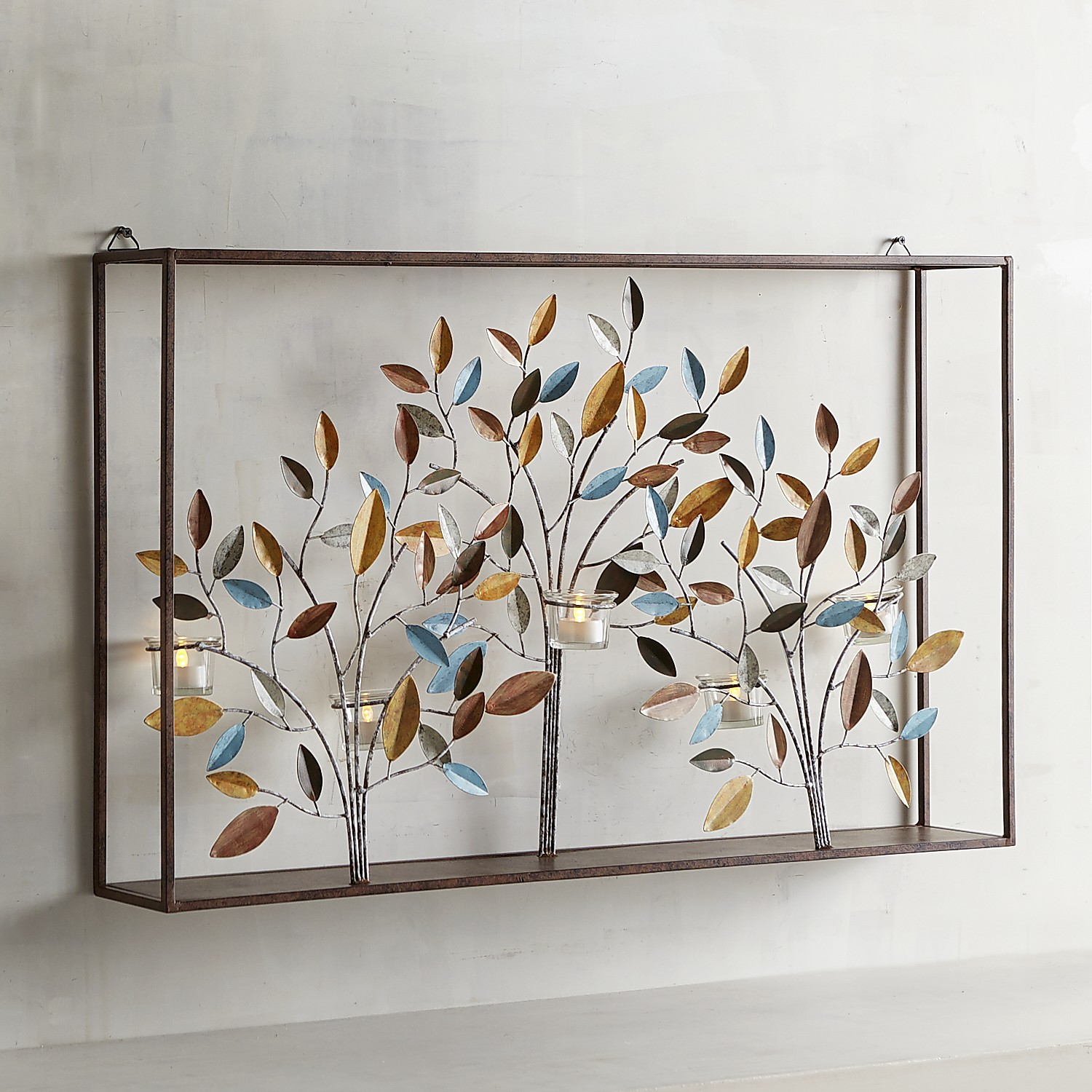 Metal Tree Frame Candle Holder Wall Sconce