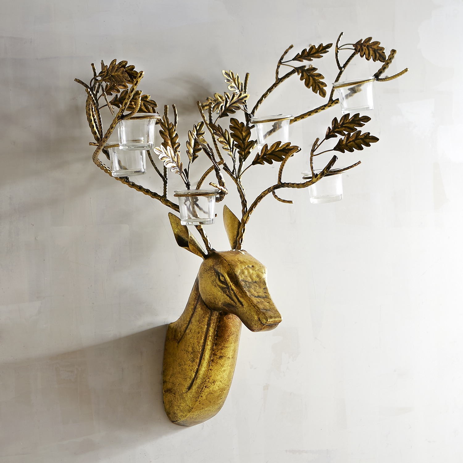 Gold Deer Tealight Candle Holder Wall Sconce
