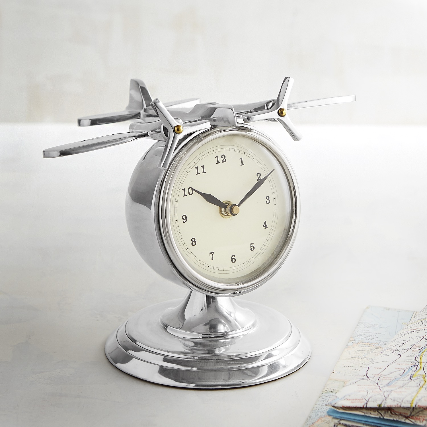 Metal Clock with Airplane