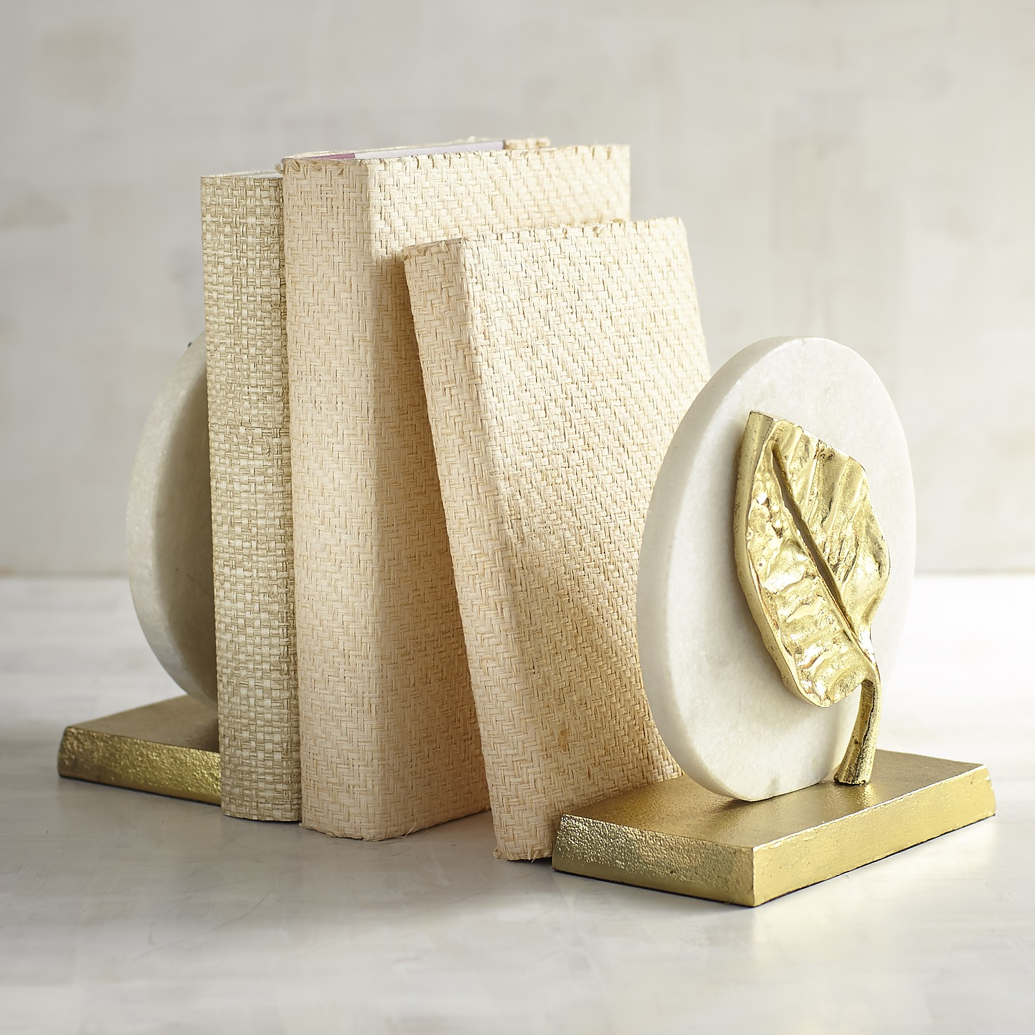 Golden Leaves on Marble Bookend Set