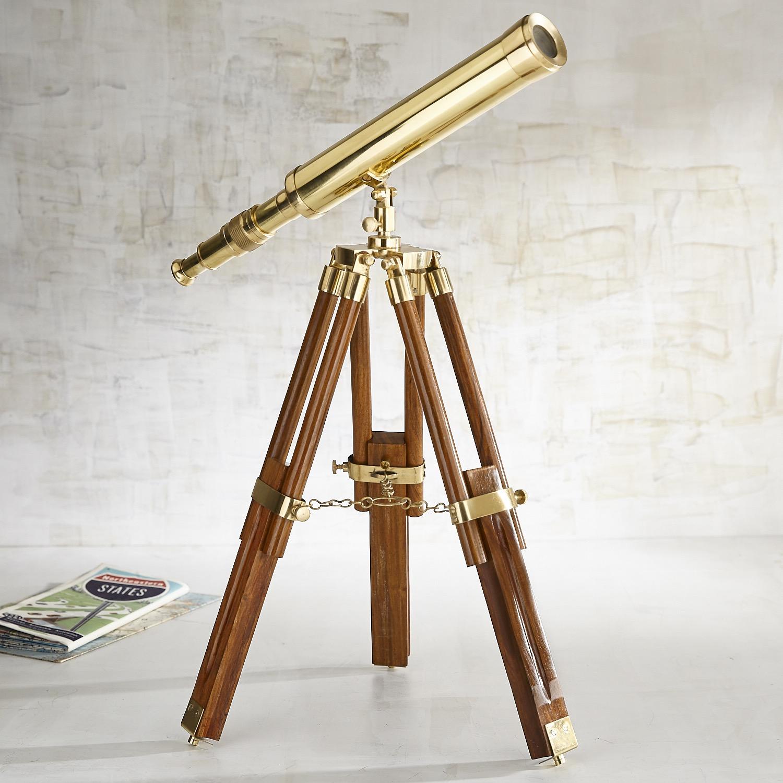 Golden Telescope on Stand