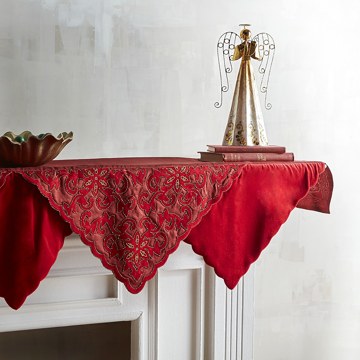 Red Beaded & Embroidered Mantel Scarf