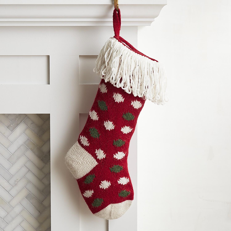 Red Knit Polka Dot Stocking