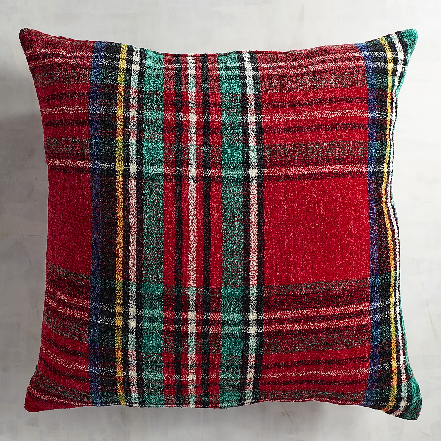 Stewart Plaid Red Chenille Oversized Pillow