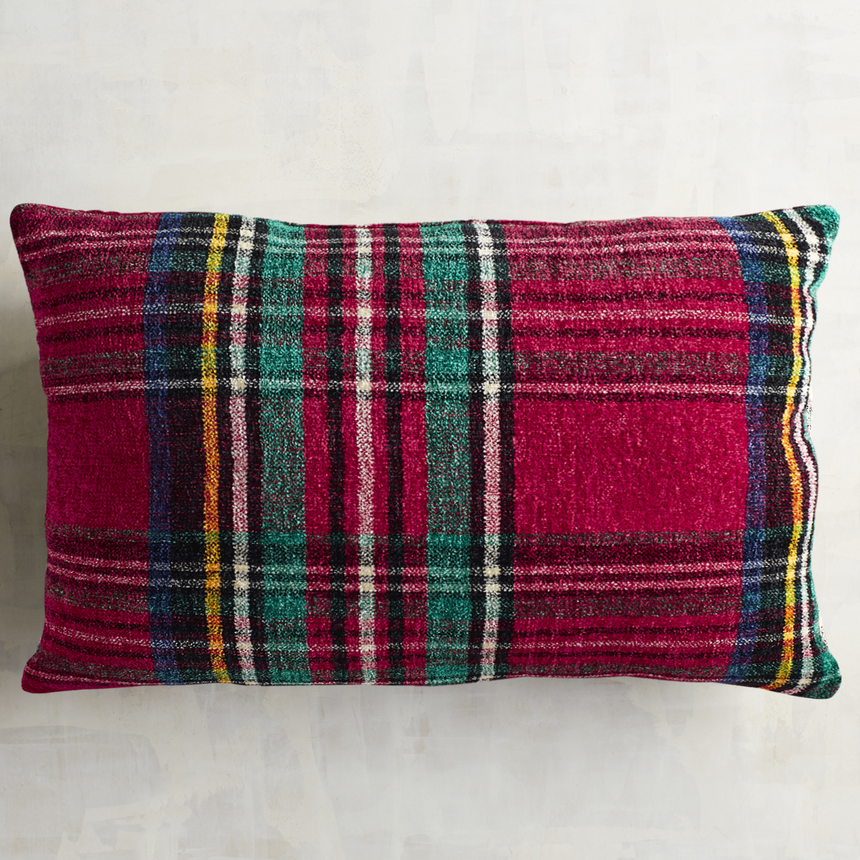 Stewart Plaid Red Chenille Lumbar Pillow