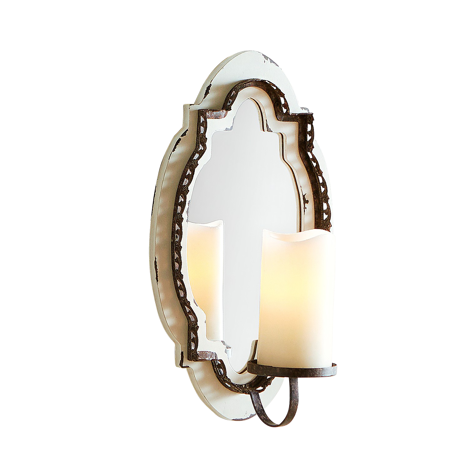 Wood & Mirror Pillar Candle Wall Sconce