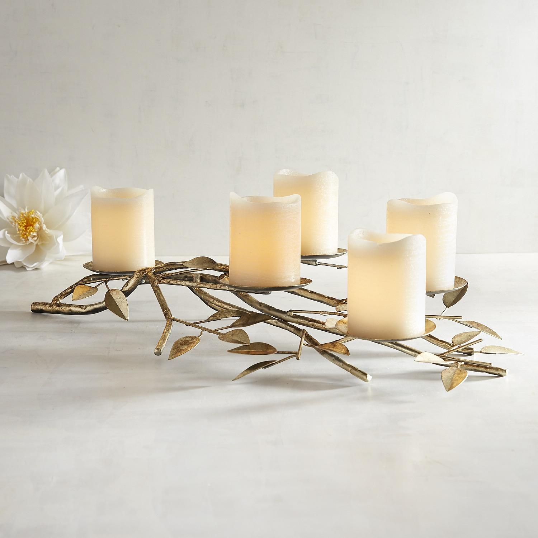 Golden Leaf Metal Centerpiece Candle Holder