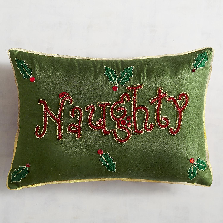 Green Naughty & Nice Lumbar Pillow