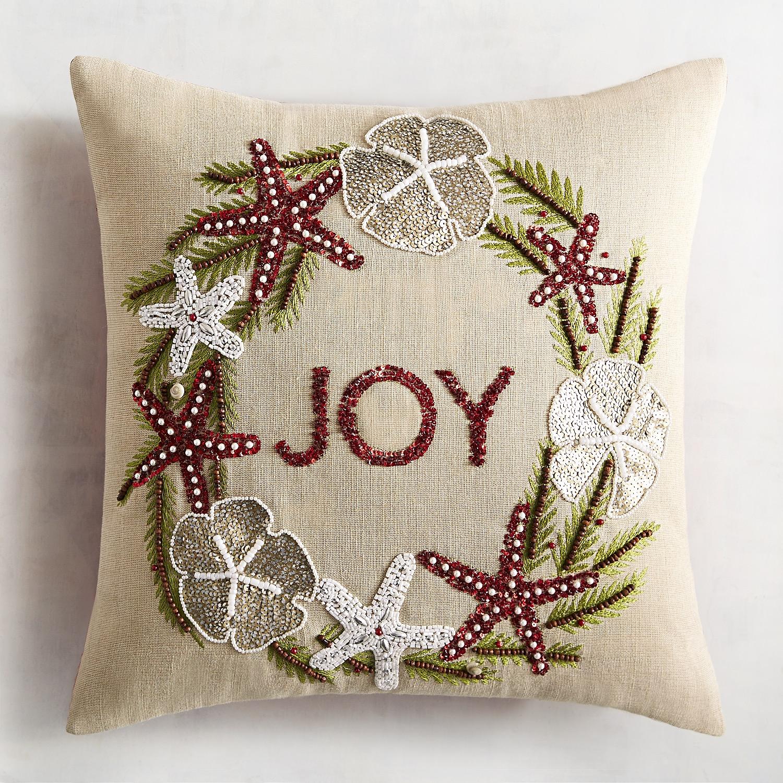 Joy Coastal Wreath Pillow