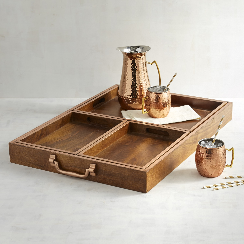 Four-in-One Mango Wood Tray Set