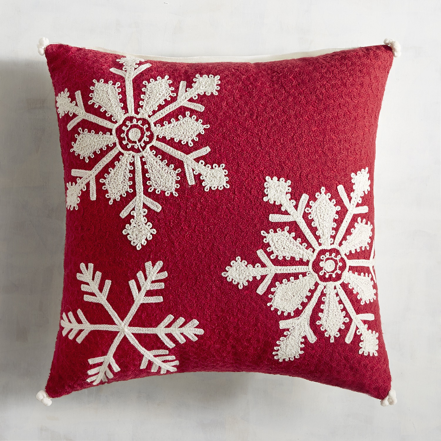 Red Chain Stitch Snowflake Pillow