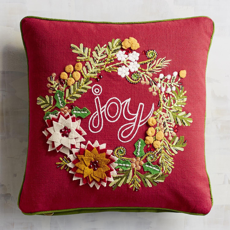 Joy Wreath Red Pillow