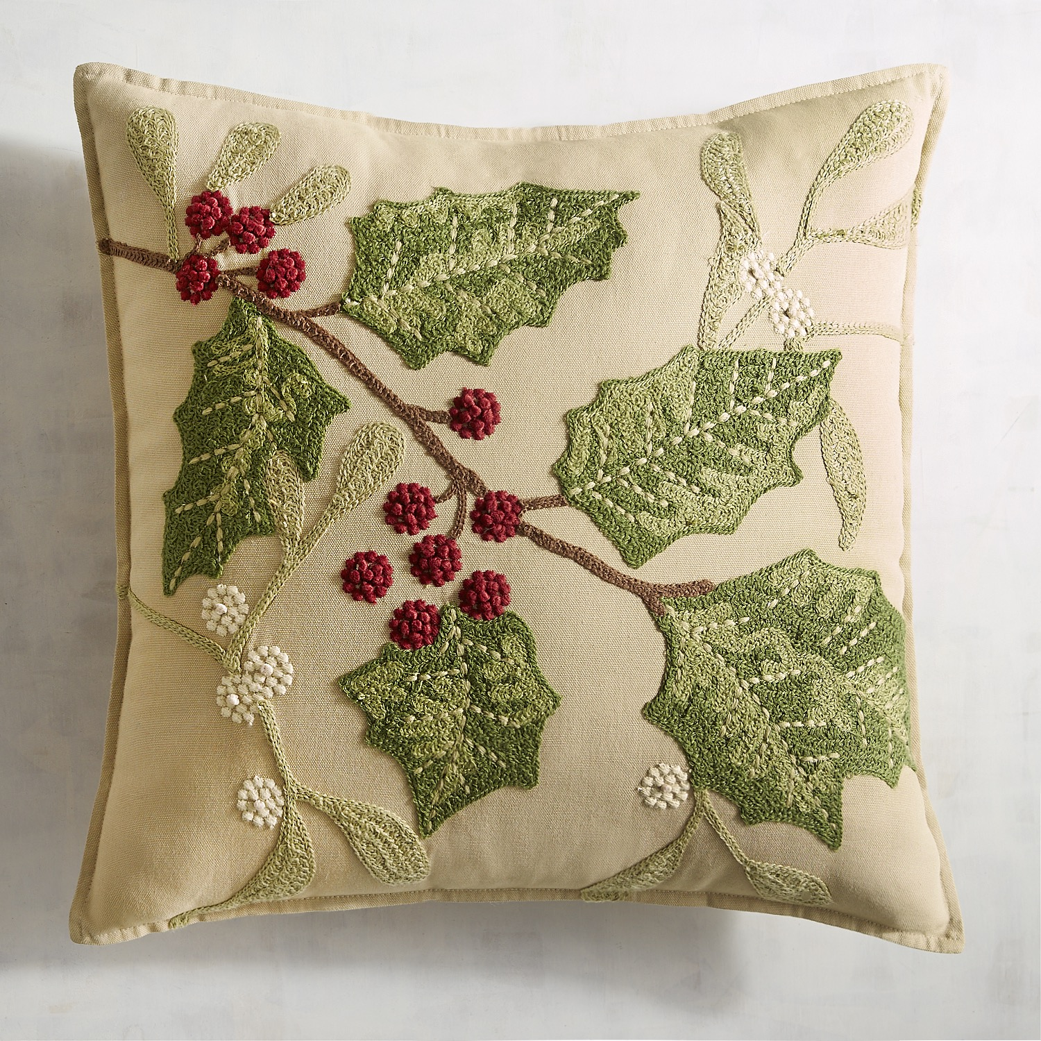 Traditional Holly Leaves Pillow