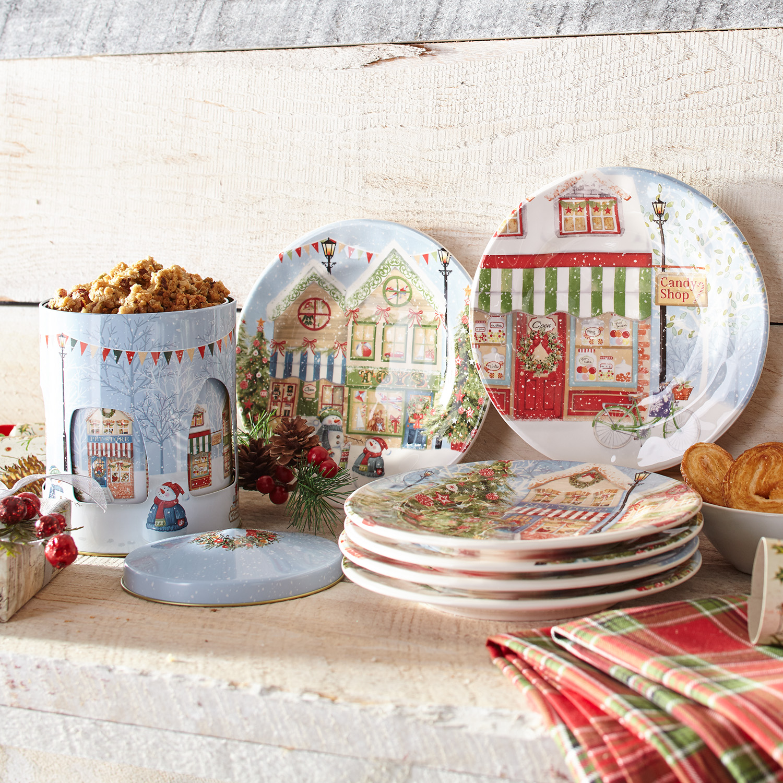 Christmas Village Musical Cookie Tin