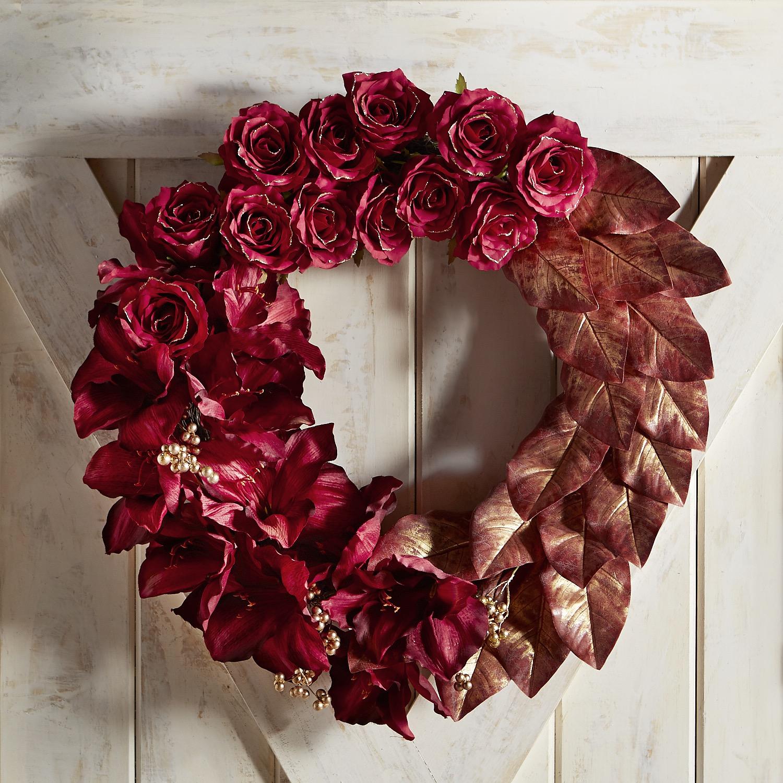 "Faux Rose, Amaryllis & Magnolia 25"" Wreath"