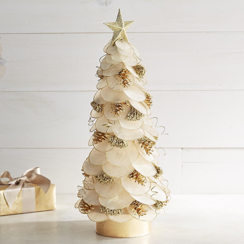 """24"""" Gold Capiz & Pinecone Tree"""