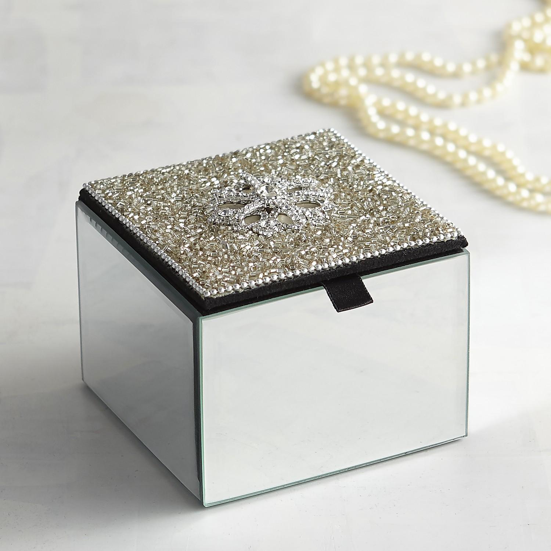 Silver Beaded Jewelry Box