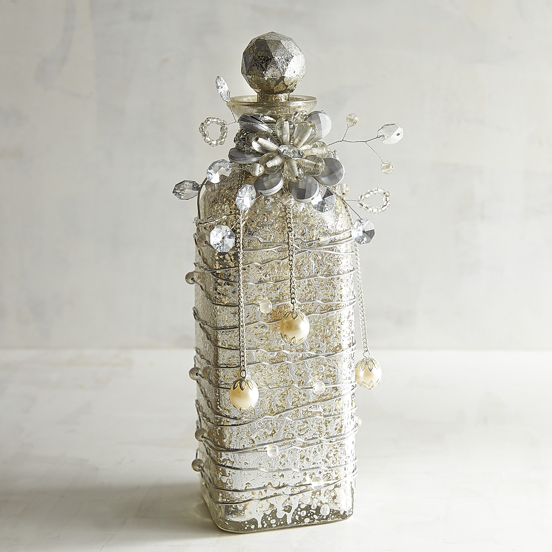 Silver Bejeweled Decorative Glass Bottle