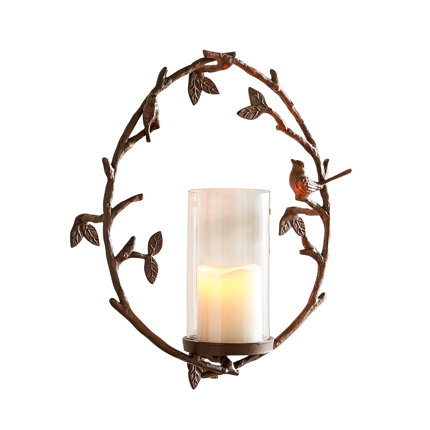 Bird on a Twig Candle Wall Sconce