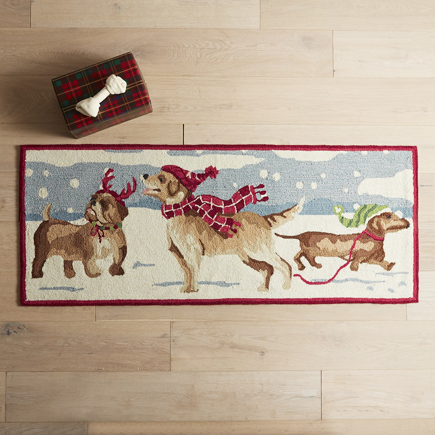 Dogs in Snow Rug