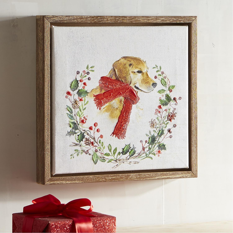 Labrador with Scarf in Wreath Dog Art
