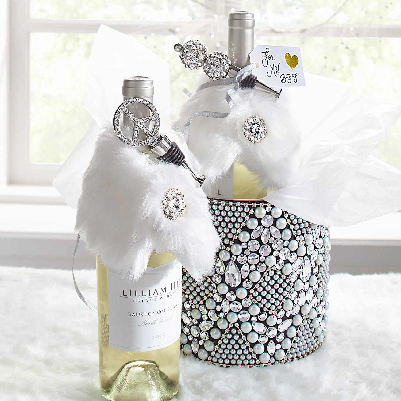 White Faux Fur Stole Bottle Decor