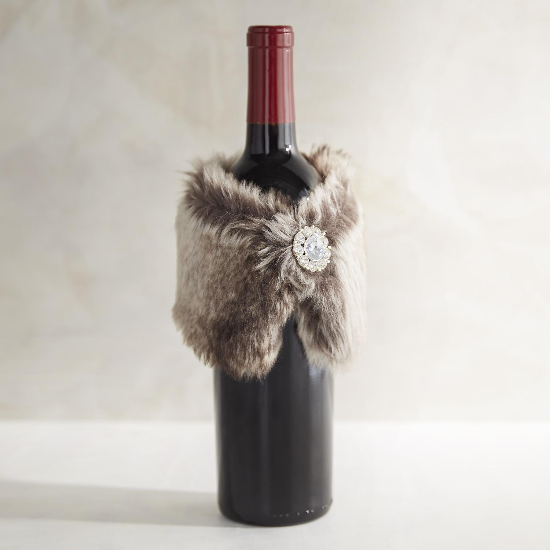 Gray Faux Fur Stole Bottle Decor