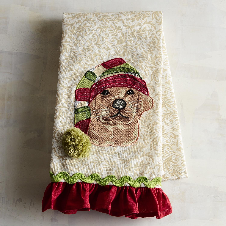 Christmas Labrador Dog Tea Towel