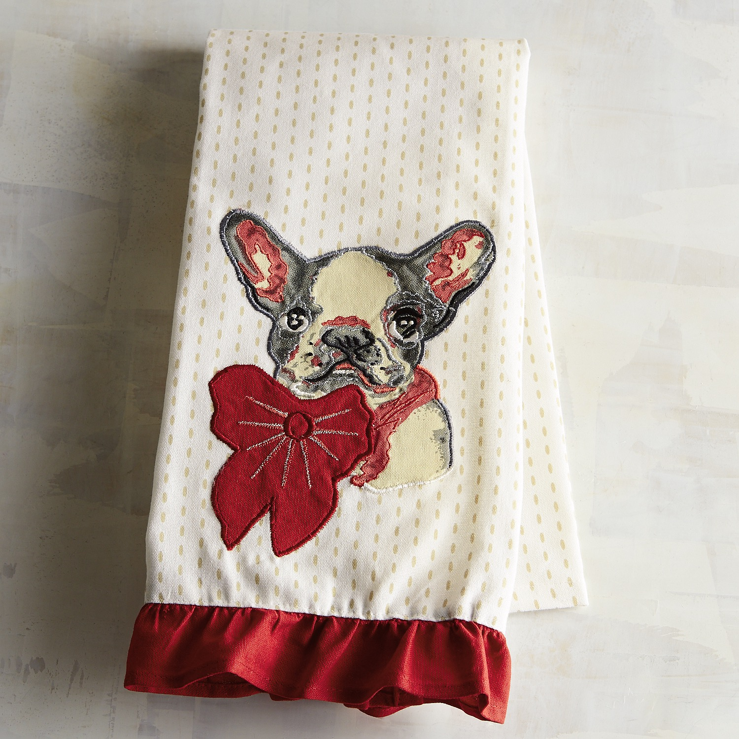 Christmas French Bulldog Tea Towel