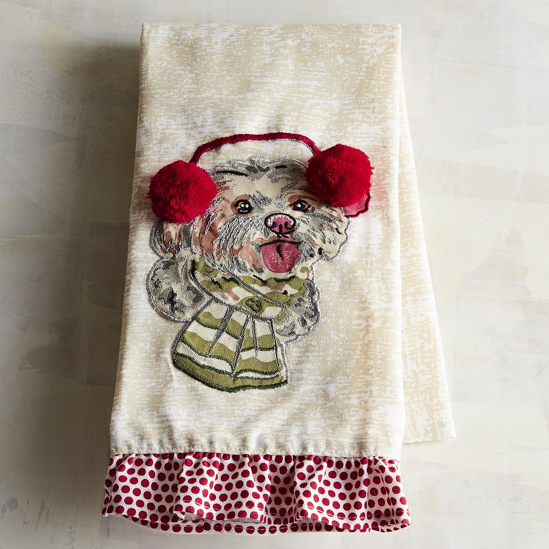 Christmas Maltese Dog Tea Towel