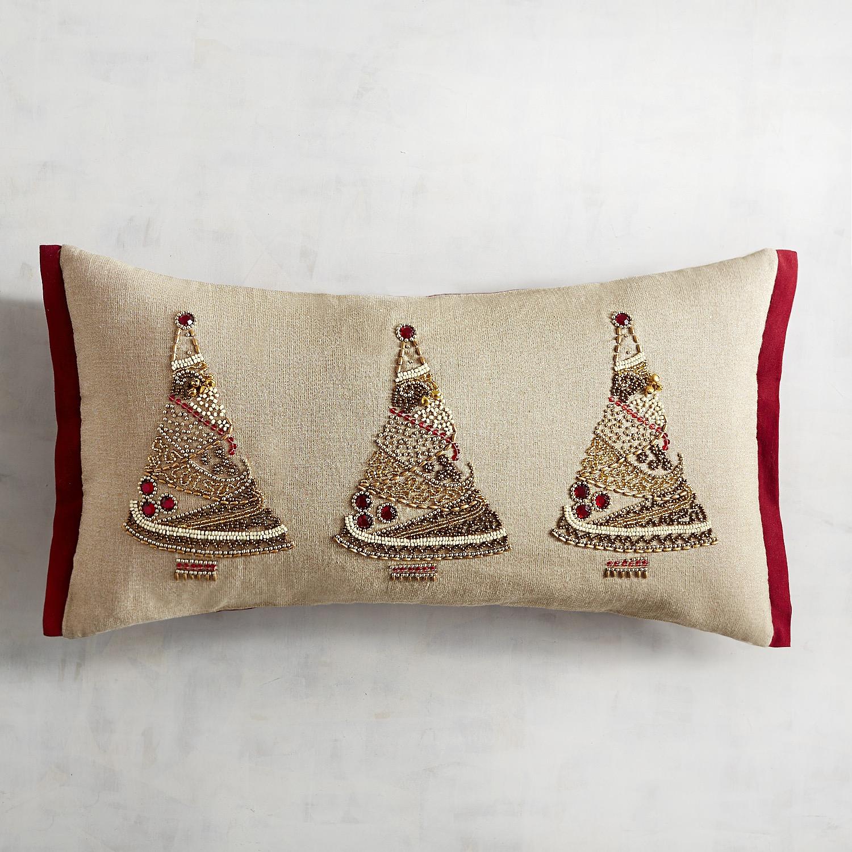 Beaded Red & Gold Trees Lumbar Pillow
