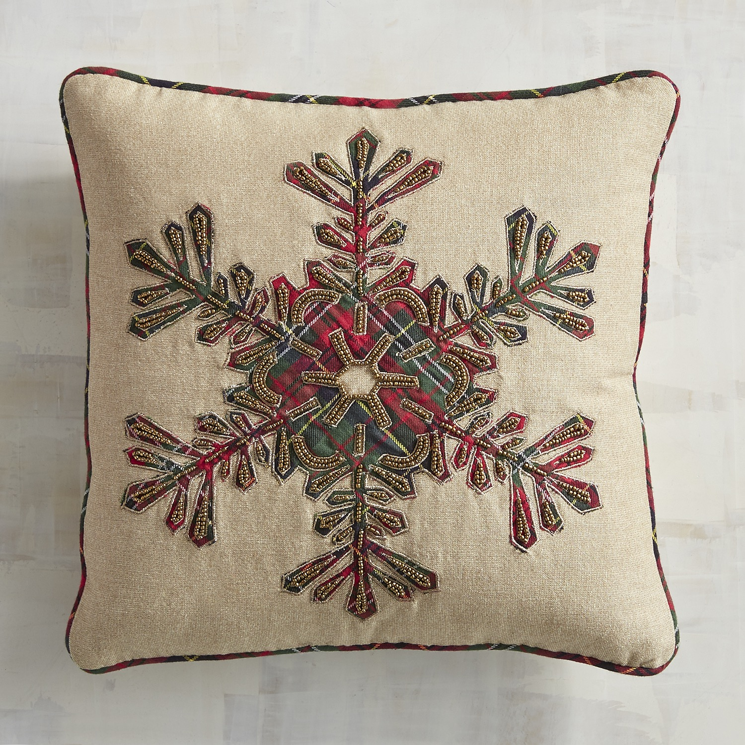 Plaid Tidings Snowflake Pillow