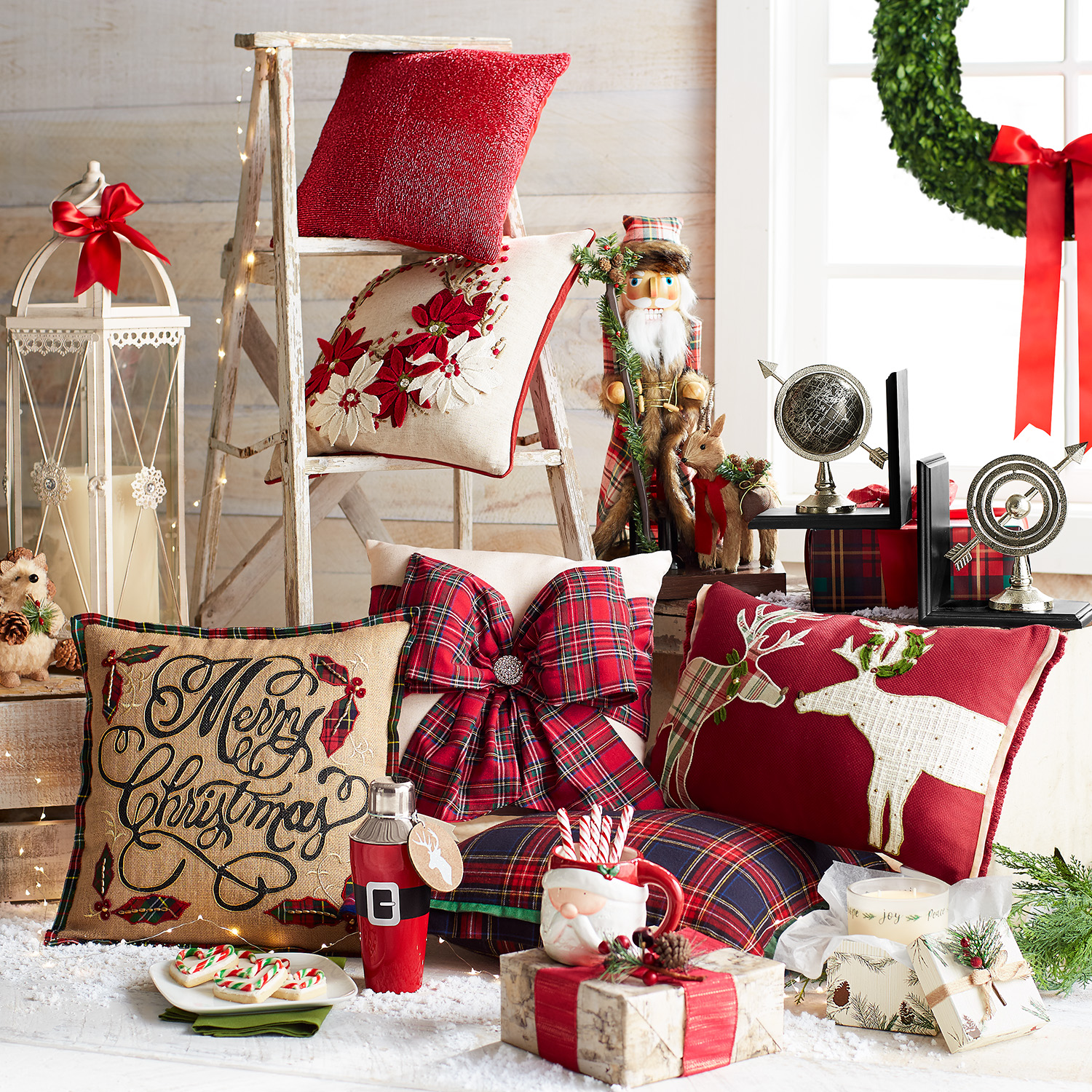 Natural Plaid Merry Christmas Pillow