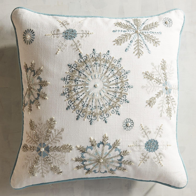Icy Blue & Metallic Snowflake Pillow