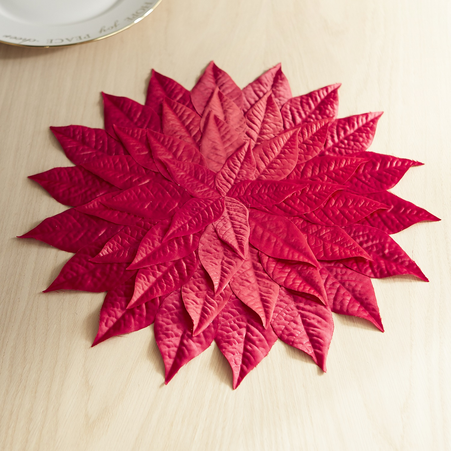 Faux Poinsettia Leaves Placemat