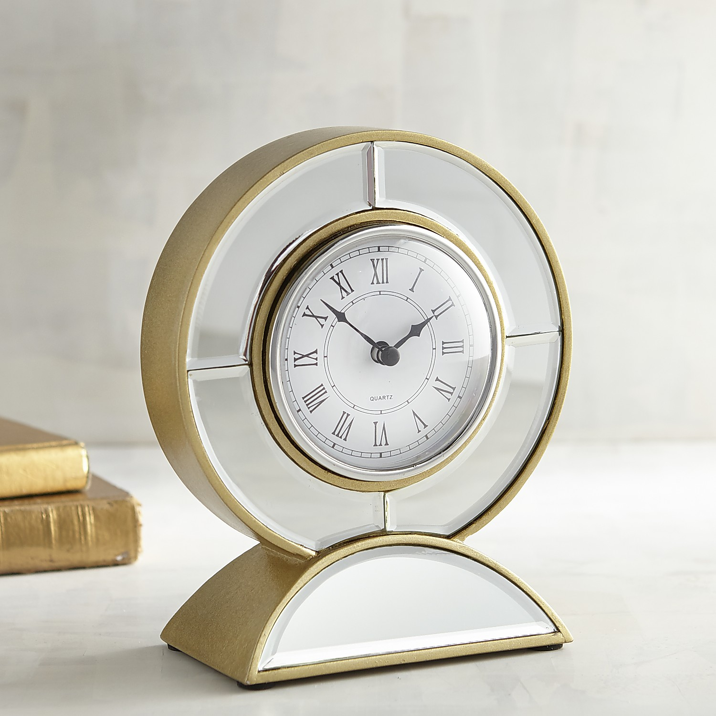 Mirrored Round Desk Clock