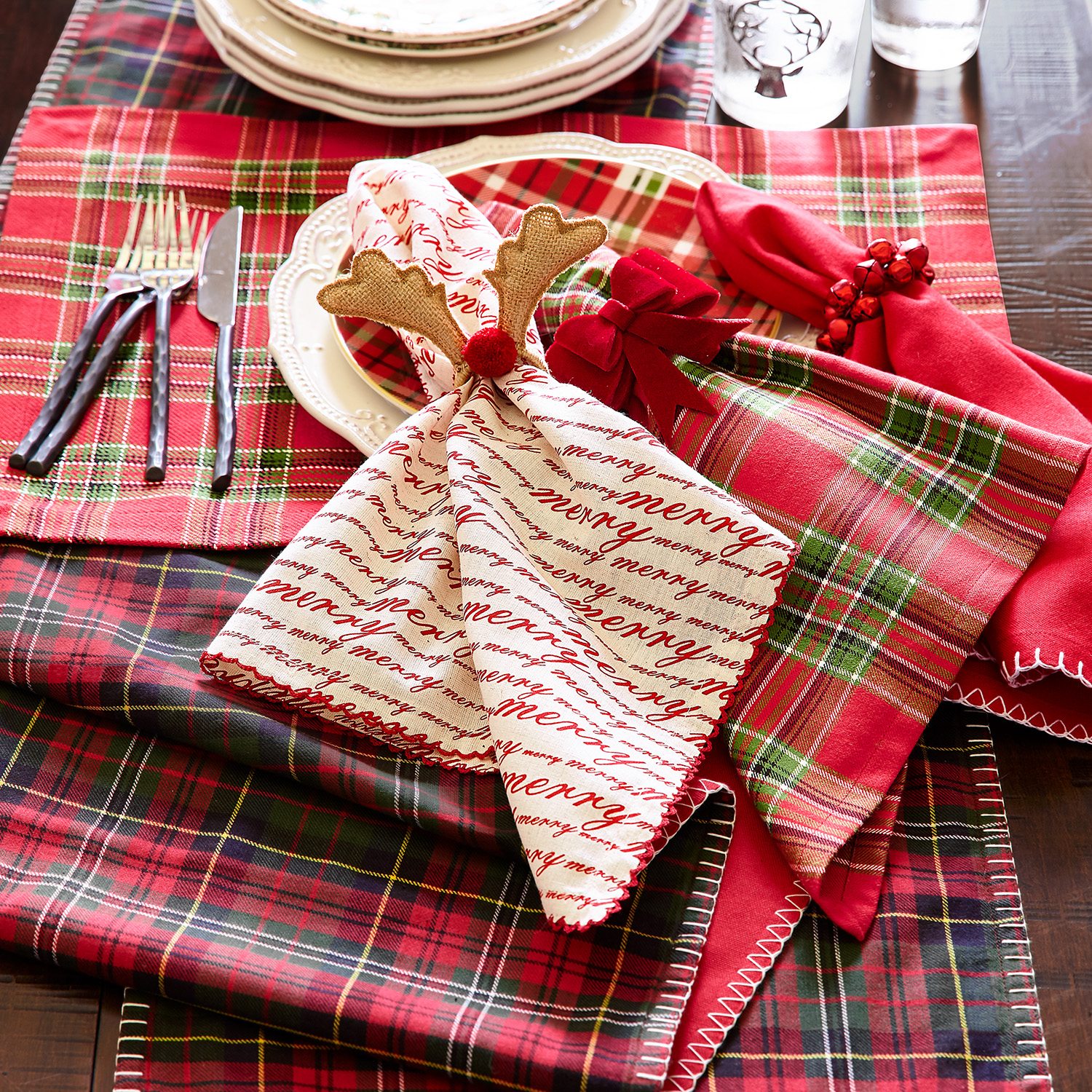 Woven Plaid Christmas Placemat